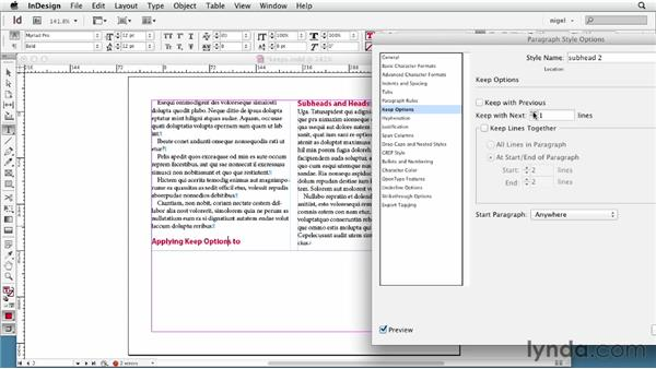 Defining Keep Options: InDesign Typography (2012)