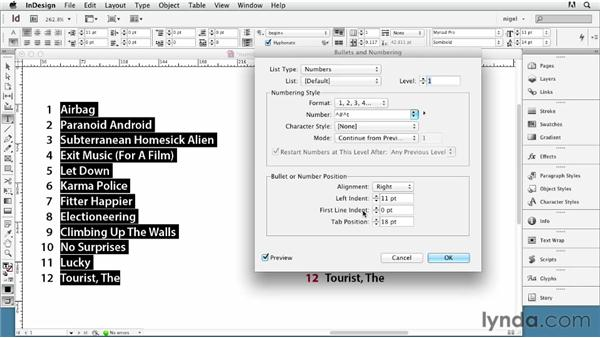 Creating a numbered list: InDesign Typography (2012)