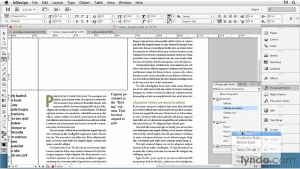 Understanding paragraph and character styles: InDesign Typography (2012)