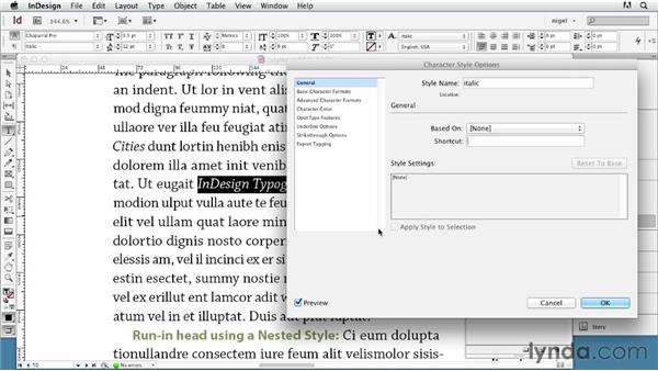 Creating and applying character styles: InDesign Typography (2012)