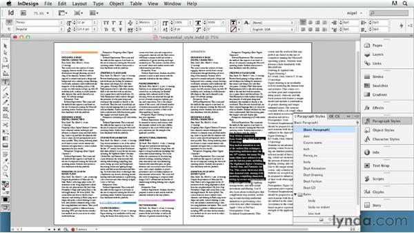 Creating and applying sequential styles: InDesign Typography (2012)