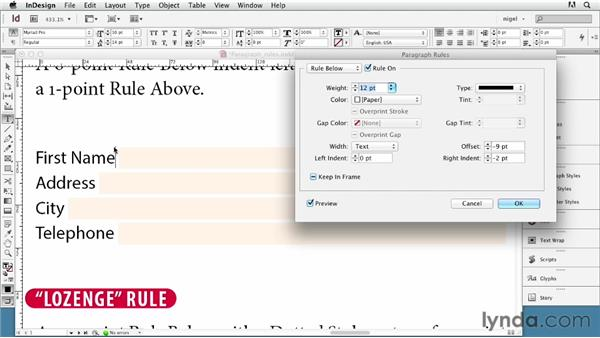 Using paragraph rules creatively: InDesign Typography (2012)