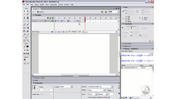 importing sounds: Flash MX 2004 Essential Training