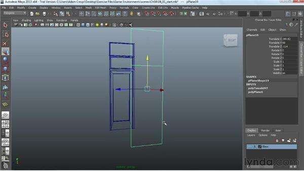 Adding door elements: Creating Game Environments in Maya and Photoshop