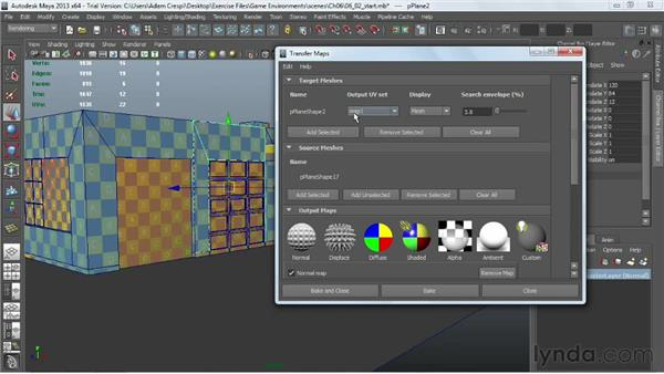Overview of the Transfer Map dialog and baking: Creating Game Environments in Maya and Photoshop