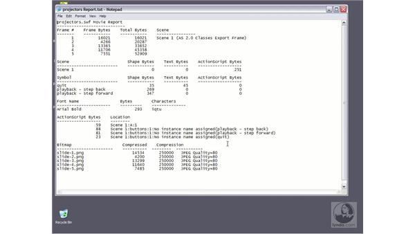 generate size report: Flash MX 2004 Essential Training