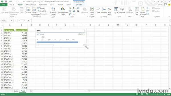 Filtering records using a timeline: Office 2013 First Look