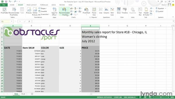 Using chart recommendations: Office 2013 First Look