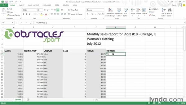 Converting roman numerals into arabic numbers: Office 2013 First Look