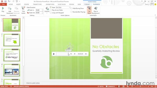 Playing an audio track across multiple slides: Office 2013 First Look