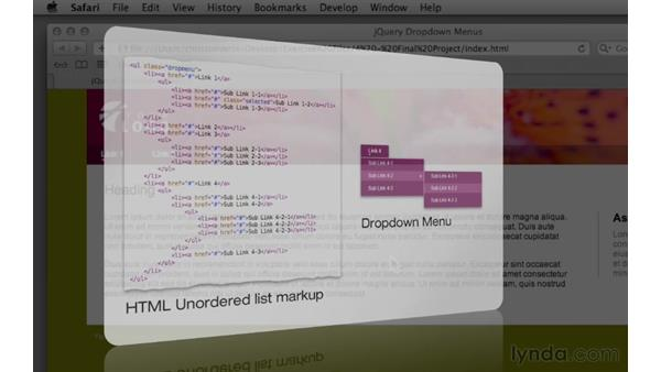 Previewing the final project: Create Navigation Menus with jQuery and Dreamweaver