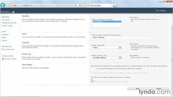 Setting workflow options: SharePoint Designer 2010: Building Custom Workflows
