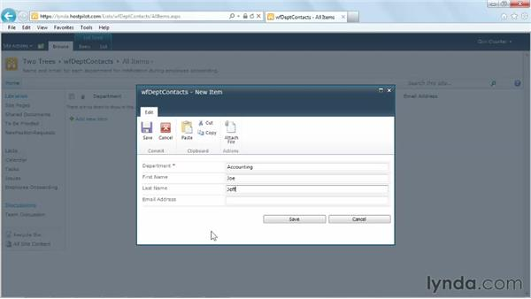 Using a contacts list for email workflow lookups: SharePoint Designer 2010: Building Custom Workflows