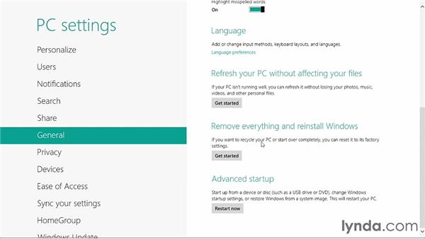 Using Push Button Reset: Windows 8 Release Preview First Look