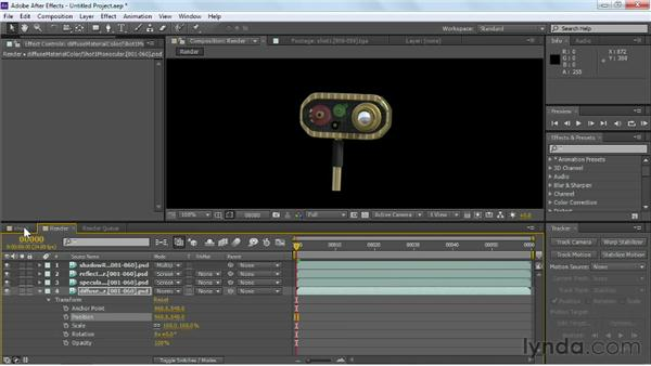 Transforming multiple render passes as a single unit: Maya Rendering for After Effects Composites
