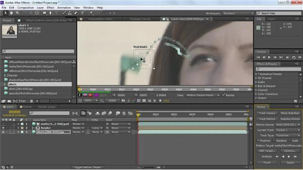 Adjusting tracker options for better results: Maya Rendering for After Effects Composites