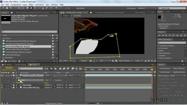 Removing unwanted elements with a garbage mask: Maya Rendering for After Effects Composites