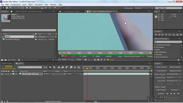Tracking rectangular elements with the Perspective corner pin option: Maya Rendering for After Effects Composites