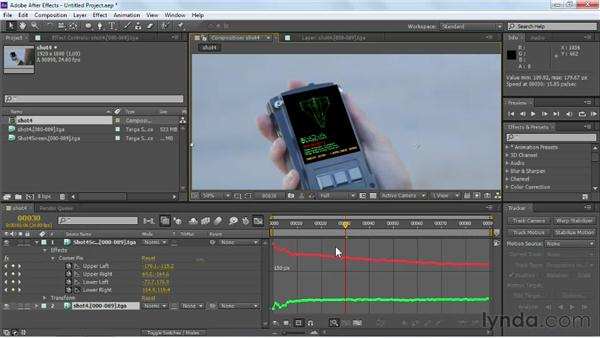Adjusting corner pin points and paths: Maya Rendering for After Effects Composites