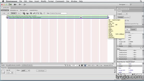 Adding building block div tags: Responsive Design with Dreamweaver CS6