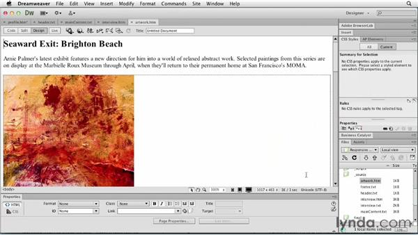 Inserting content: Responsive Design with Dreamweaver CS6