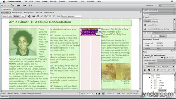 Adjusting column widths and margins: Responsive Design with Dreamweaver CS6