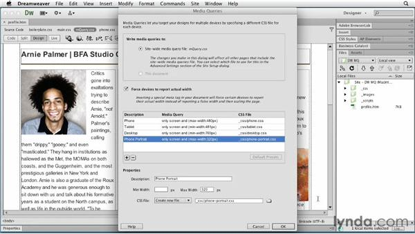 Working with additional media queries: Responsive Design with Dreamweaver CS6