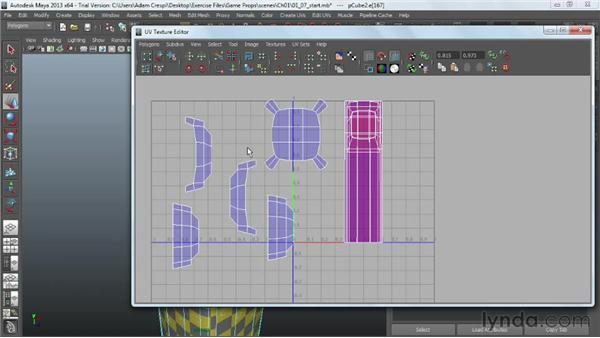 Moving and sewing UVs: Game Prop Creation in Maya