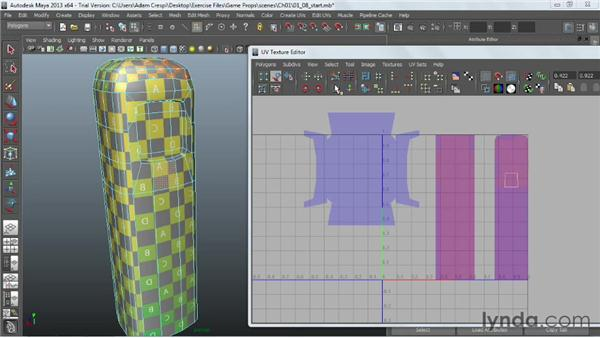 Laying out the UV coordinates: Game Prop Creation in Maya