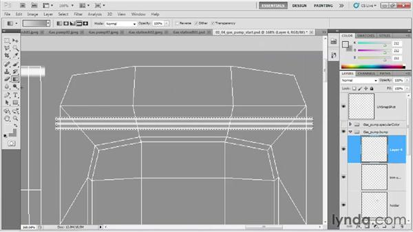 Drawing the bump map for the front: Game Prop Creation in Maya