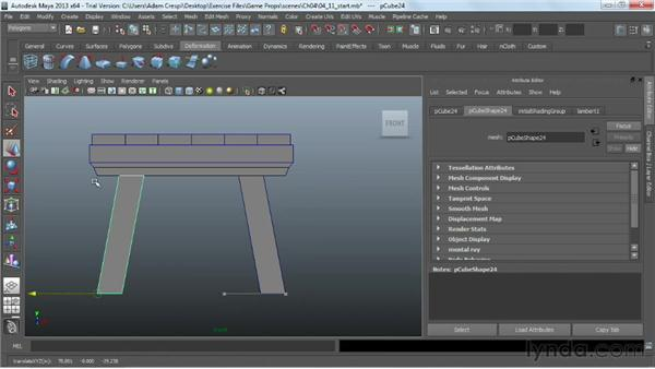 Adding legs to the table: Game Prop Creation in Maya