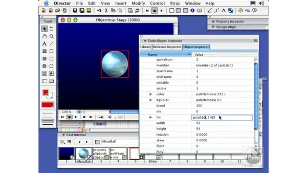 the object inspector: Director MX Essential Training