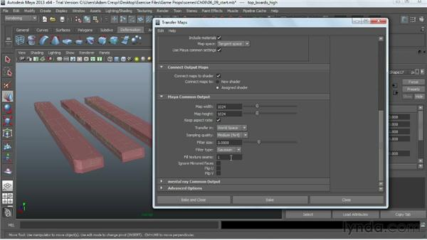 Baking the high-poly model onto the low-poly model to produce a normal map: Game Prop Creation in Maya