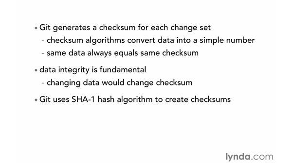 Using hash values (SHA-1): Git Essential Training