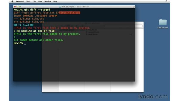 Viewing only staged changes: Git Essential Training