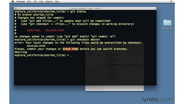 Saving changes in the stash: Git Essential Training