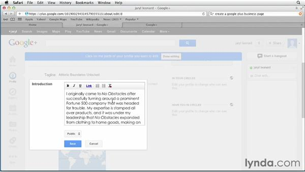 Creating a Google+ profile: Google+ for Business (2012)