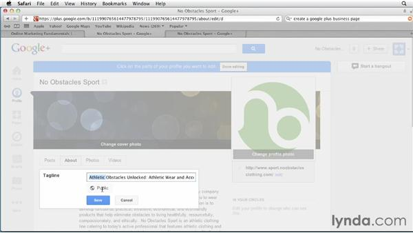 Customizing the tagline: Google+ for Business (2012)