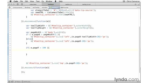 Positioning the tooltip above or below the cursor: Create a Tooltip with jQuery