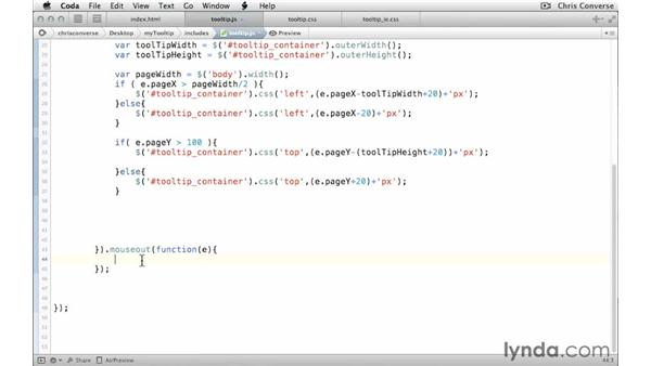 Hiding the tooltip container until it's triggered by the mouse: Create a Tooltip with jQuery