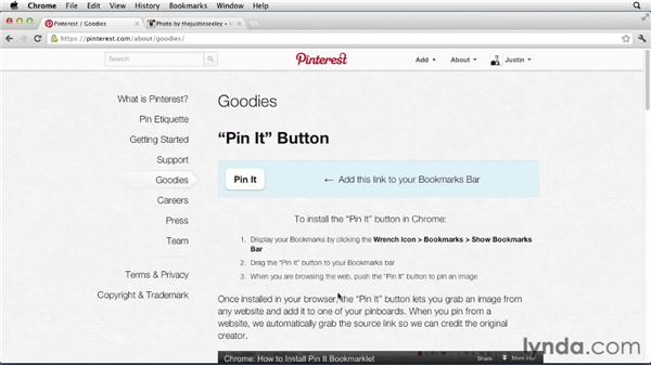 Adding pins from the web: Up and Running with Pinterest