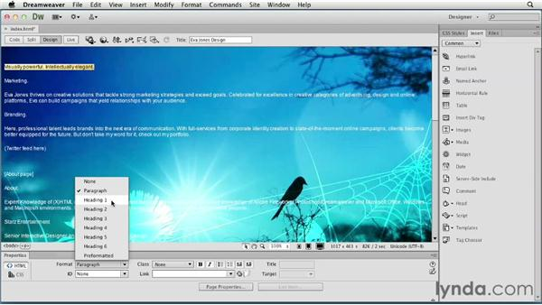 Adding content: Creating a First Web Site with Dreamweaver CS6