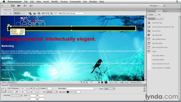 Positioning elements: Creating a First Web Site with Dreamweaver CS6