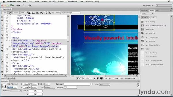Creating an HTML5 layout: Creating a First Web Site with Dreamweaver CS6