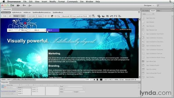 Adding a menu bar: Creating a First Web Site with Dreamweaver CS6