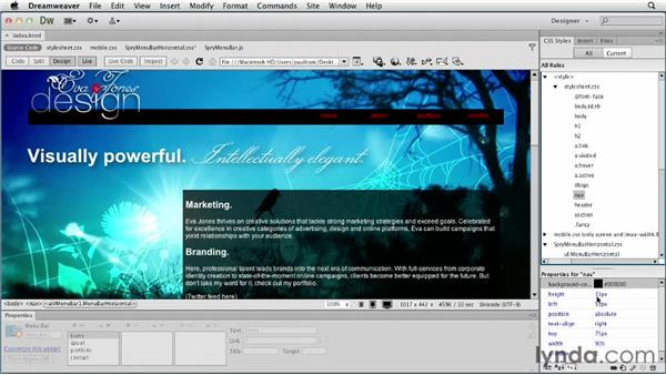 Customizing the menu bar: Creating a First Web Site with Dreamweaver CS6