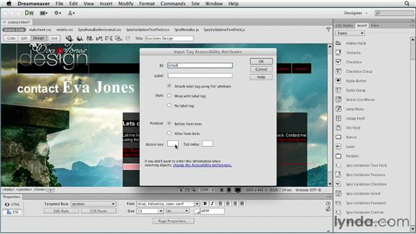 Adding input fields: Creating a First Web Site with Dreamweaver CS6