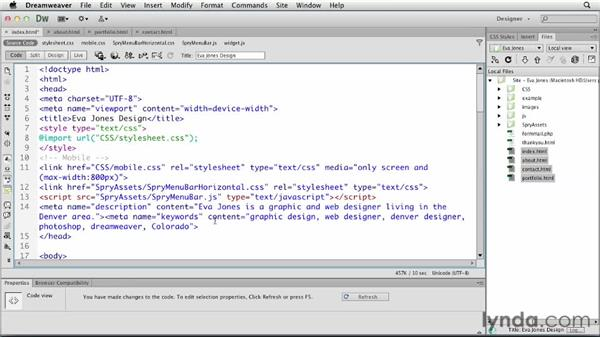 Refining the site for search engines: Creating a First Web Site with Dreamweaver CS6