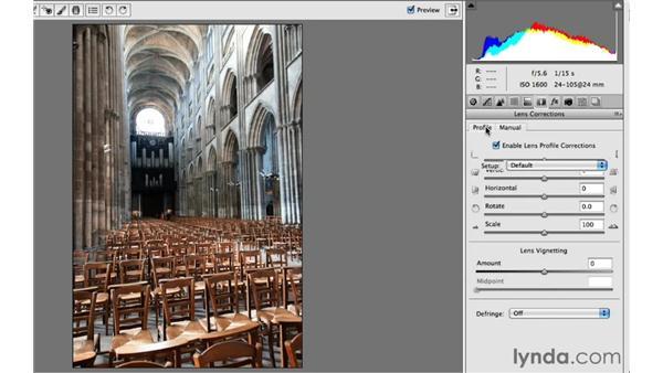 Correcting automatically based on lens profiles: Photoshop Insider Training: Enhancing Photos