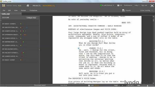 Viewing scripts: Up and Running with Adobe Story